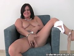 Busty mature mom apropos white panties with an increment of pantyhose