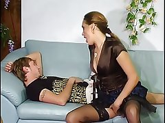 Russian matured aunt with young boy.