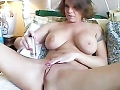 Big tits MILF shaves the brush sexy pussy