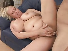 Blonde Mature fucks a alms-man