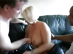 Blonde amateur mature takes three cocks