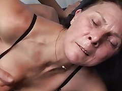 Grown up masturbates with gewgaw in front fucks