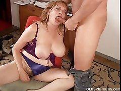 Beautiful big tits MILF gives a ripsnorting blowjob