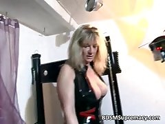 Blonde mature mistress plays with say no to