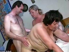 OldNanny Fat mature with an increment of chubby milf is enjoying threesome