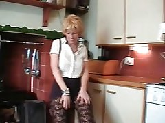 British Tow-haired Mature Does Striptease Plus Toys Her Pussy