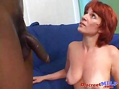 Redhead mom gets big black flannel