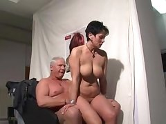 German grown up woman sucking and riding a guy