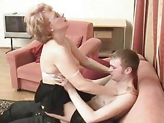 Russian old woman is fucked by her boy