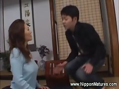 Asian milf put the screws on boy in the matter of lick her pussy