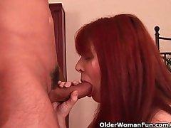 Grandma at hand bushy cunt enjoys his hard cock