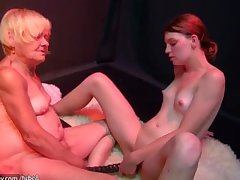OldNanny old together with young woman masturbating together with sucking dick