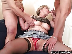 Grandma takes two cocks damper assail