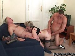 Pernicious granny takes one cocks