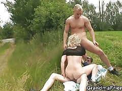 Old whore takes yoke dicks alfresco