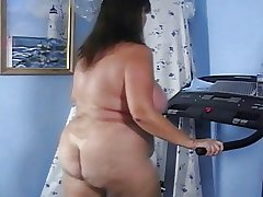Adult Bed basically Naked Heavy Ass Treadmill Workout