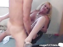 Hot Granny cougar in nylons fucks a young timber