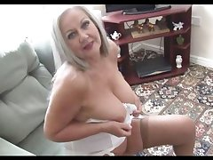 Busty beloved granny in open girdle and stockings