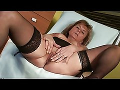 Perforated Granny in Stockings Fingers
