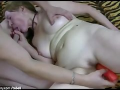 OldNanny Aged granny is carrying-on with young man and sextoy