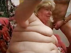 Russian chubby Granny upon grandson
