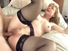 Fat boobed blonde milf forth stockings and a colours