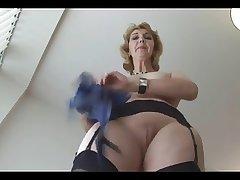 Matured English mart babe in stockings upskirt tease