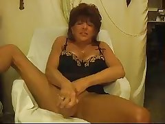 Hot Mature Cougar Solo Joking and Toying
