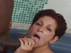 Prudish Tan Mature 60yr takes a BBc wide Ass
