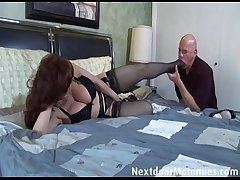 Bald guy fucks beamy breasted redhead