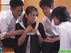 Mature Rika Has Three Cocks