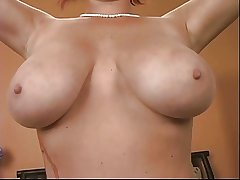 Downcast well-endowed mature redhead plays regarding a vibrator on slay rub elbows with bed