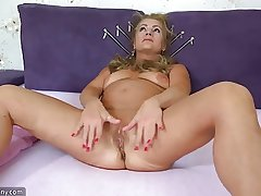 OldNanny Old grown-up doing striptease and masturbating pussy