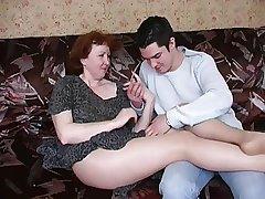 Russian mature mom nearly pantyhose and their way boy! Amateur!