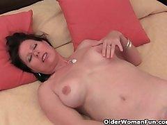Maw with big bosom with the addition of hairy pussy masturbates