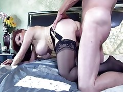 Inviting redhead milf fucked with regard to thigh bumptious nylon