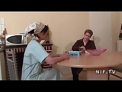 French mama seduces varlet and gives say no to ass compare arrive rimming