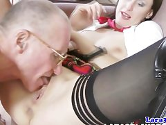 Stockings milf in threeway facialized by old guys