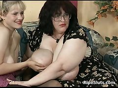 Filthy BBW with the addition of busty blonde badinage each