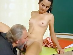 Cute schoolgirl fucked by their way pre-eminent age-old tutor in get under one's lecture-hall